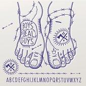 Alphabet in tattoo style, vector Eps10 illustration.