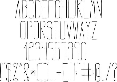 Alphabet In Style Technical Drawing Stock Illustration - Download Image Now
