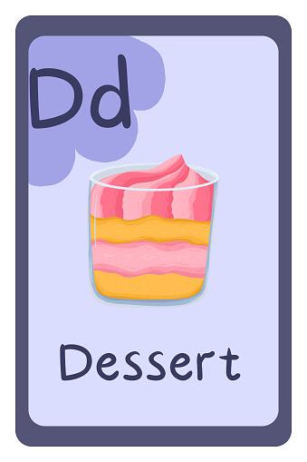 Alphabet in vector, Letter D - dessert.