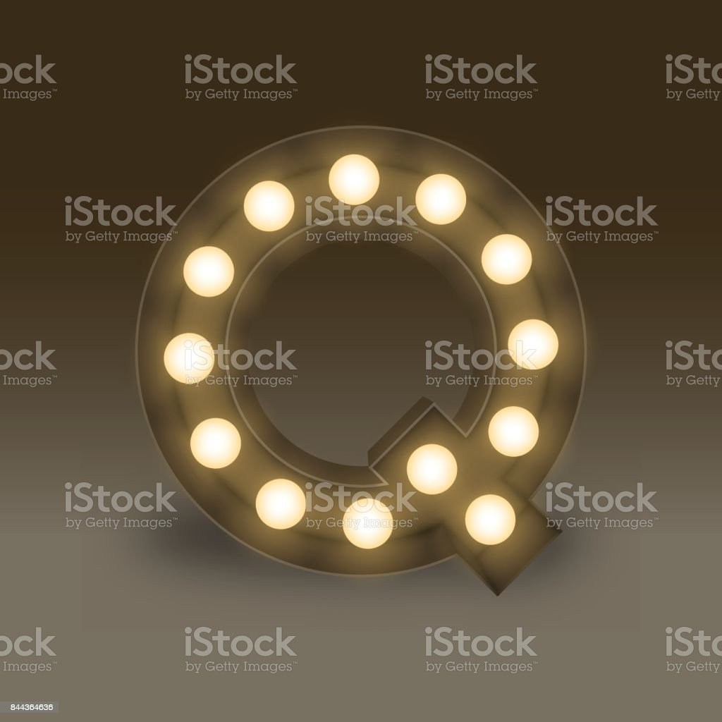 Alphabet Incandescent light bulb box set letter Q, illustration retro 3D  style isolated glow in