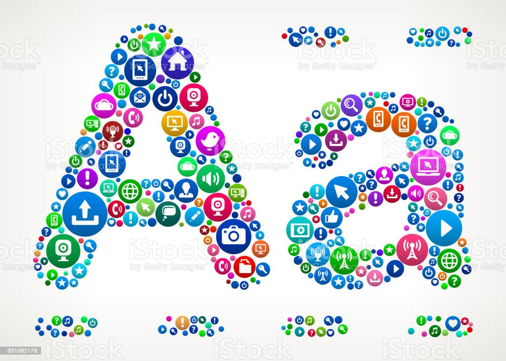 Alphabet Internet Communication Technology Icon Pattern vector art illustration