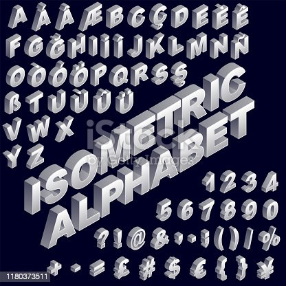 Isometric alphabet with non-western script. Vector silver colored.
