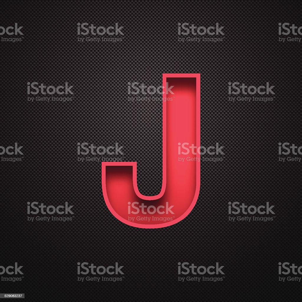Alphabet J Design - Red Letter on Carbon Fiber Background vector art illustration
