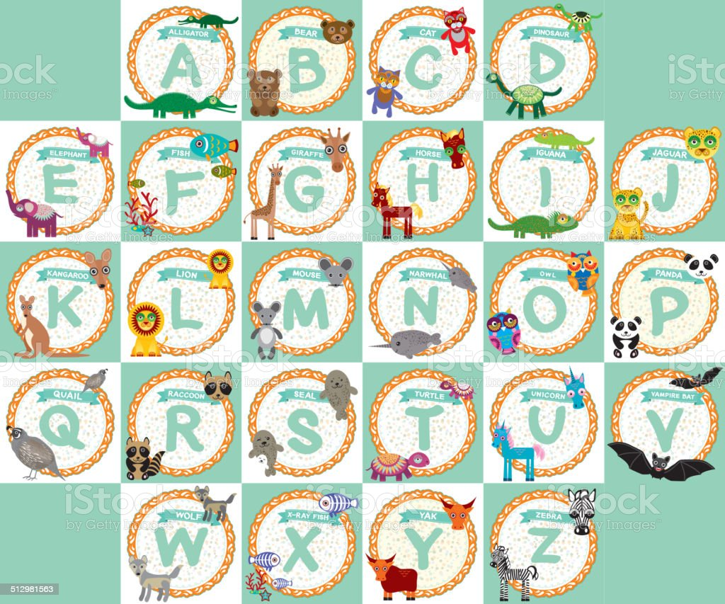 ABC alphabet kids from A to Z. funny cartoon animals vector art illustration