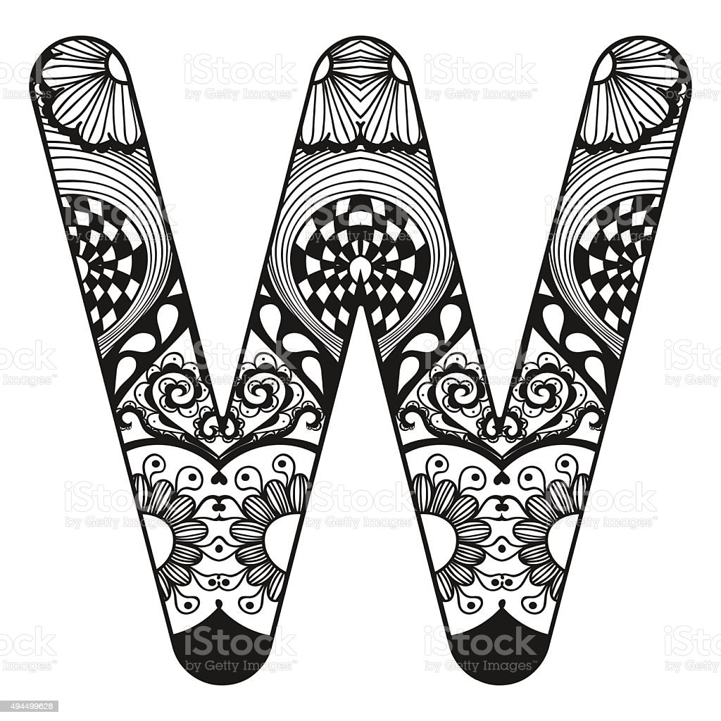 Lace Letter W In Doodle Style Hand Royalty Free Alphabet