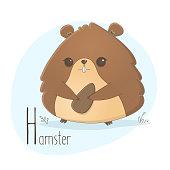 Alphabet letter animals children illustration hamster rodent