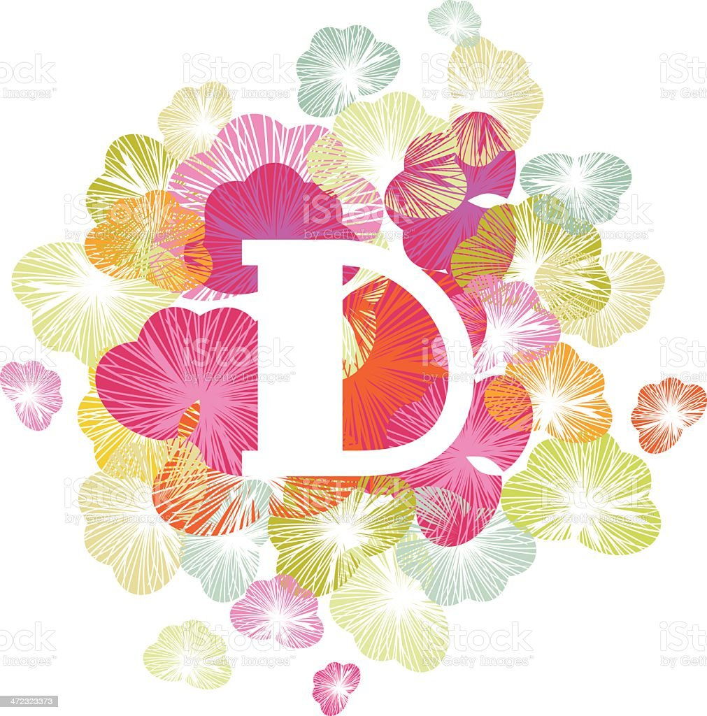 Alphabet letter D initial uppercase floral royalty-free stock vector art