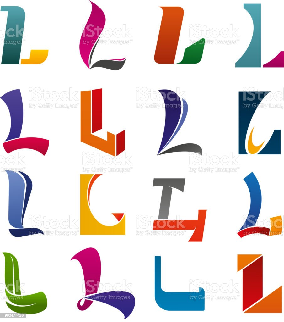Icone De Lettre L Alphabet Pour Carte Visite Moderne