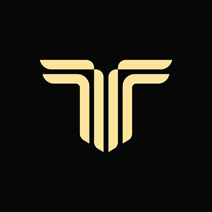 Alphabet letter T monogram vector logo