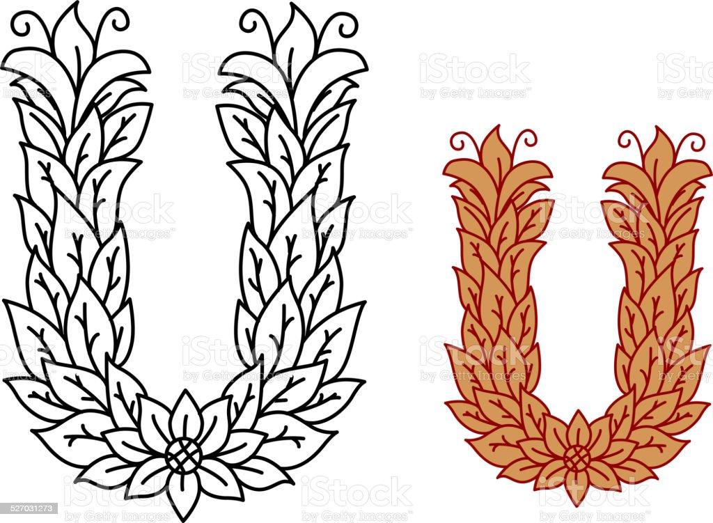 Ilustración de Alfabeto Letra U En Una Fuente Natural Con Hojas y ...