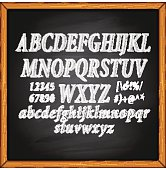 Letters characters on blackboard background.