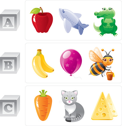 Alphabet letters A, B, C icon set