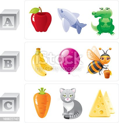 ABC icon set contain 3 baby blocks with letters A, B, C and 3 objects for every letter in cartoon style. Letter A: apple, airplane, alligator. Letter B: banana, ballon, bee. Letter C: carrot, cat, cheese. ZIP contains AI 10, CDR 11, JPG.
