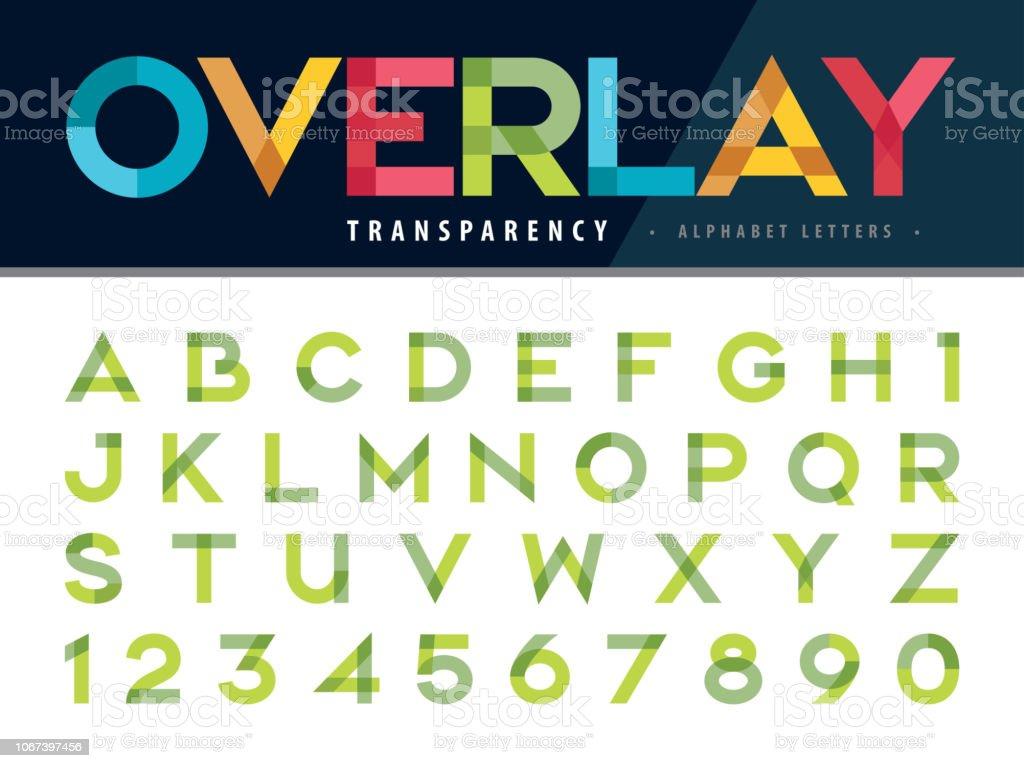 Lettres de l'alphabet et des nombres, Multicolor transparence Font, superposition stylisés lettre - Illustration vectorielle