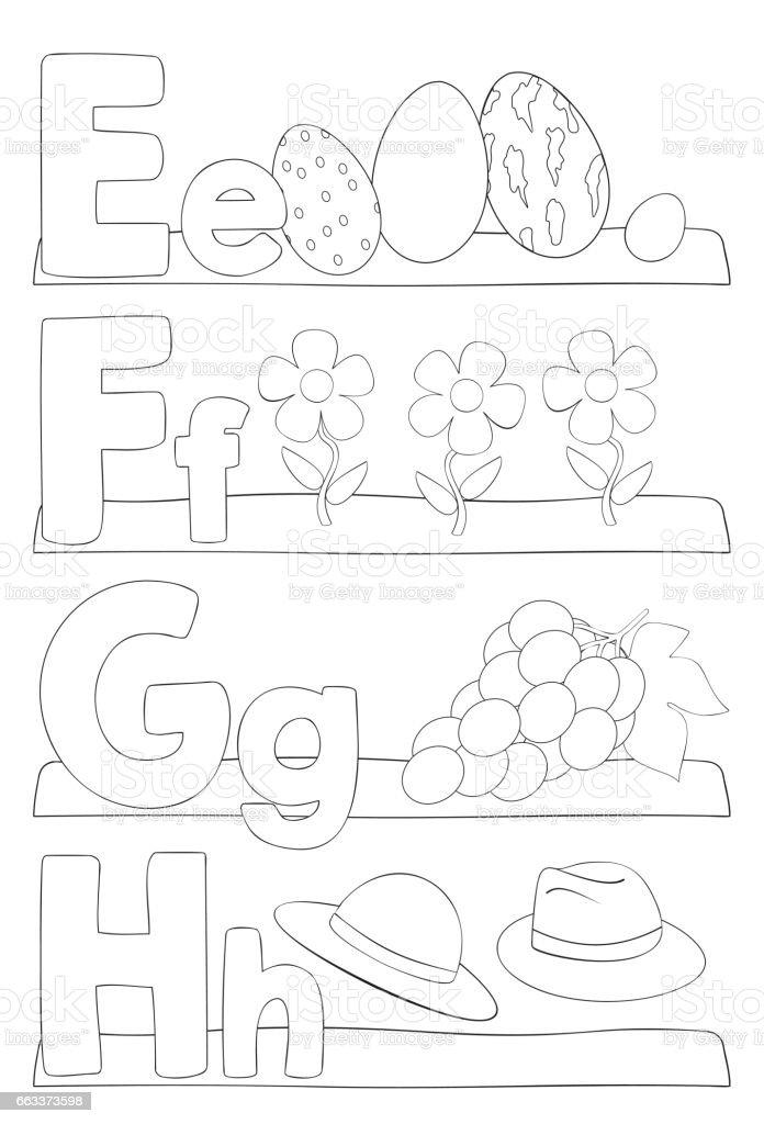 Ilustración de Página Para Colorear De Alfabeto Letras y más banco ...
