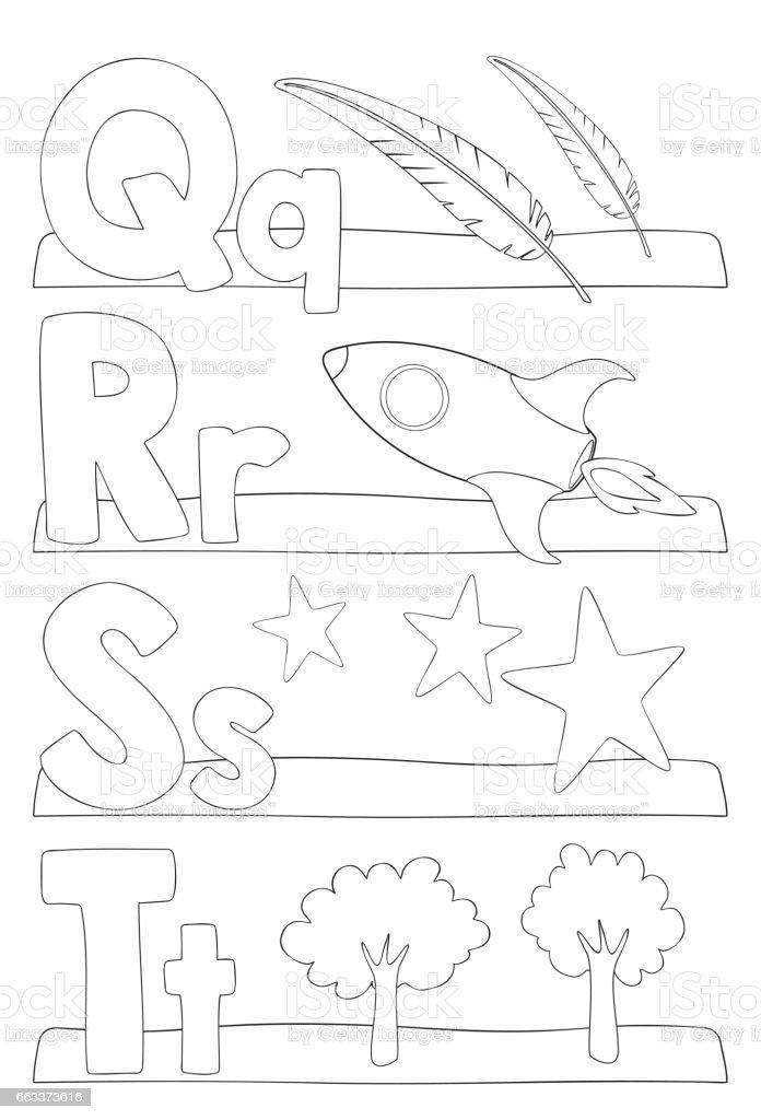 Página Para Colorear De Alfabeto Letras Illustracion Libre de ...