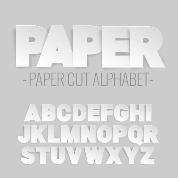 stockillustraties, clipart, cartoons en iconen met alfabetletters gesneden uit papier. - driedimensionaal