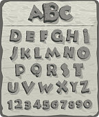 Alphabet, letters from granite stone with cracks, vector font