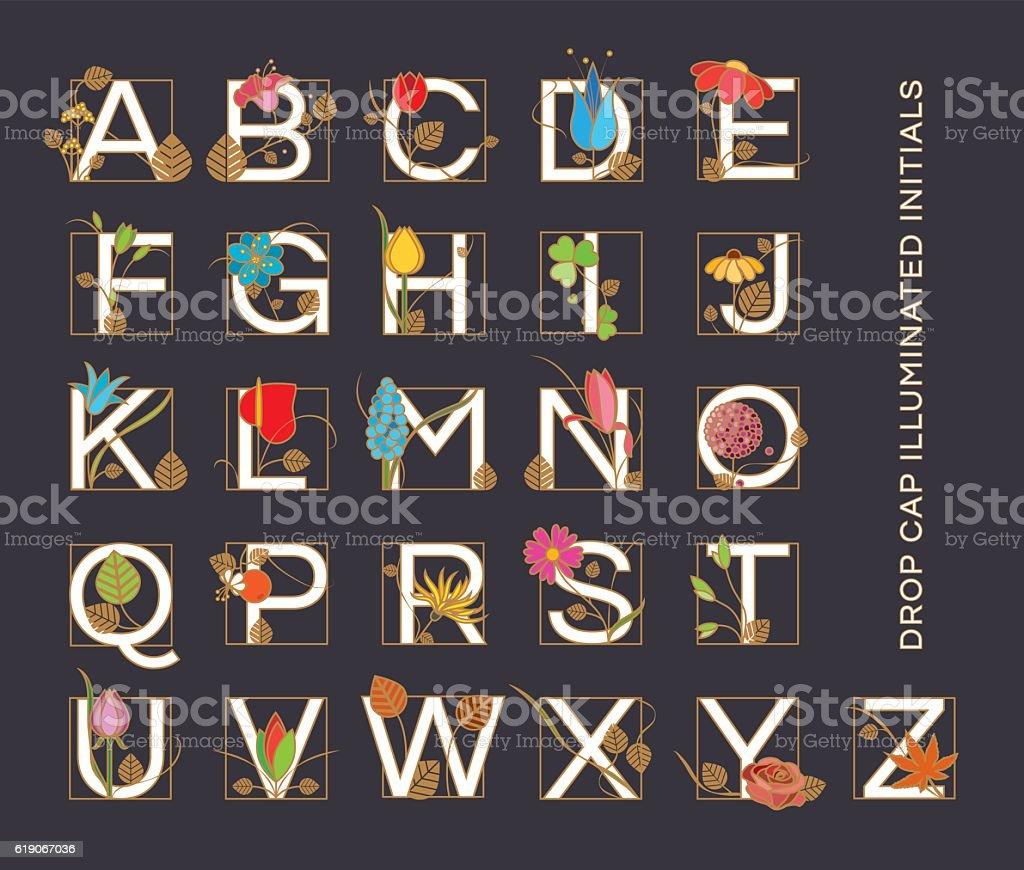 Alphabet letters in Art Nouveau style vector art illustration