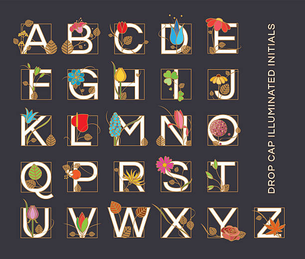 Alphabet letters in Art Nouveau style vector art illustration