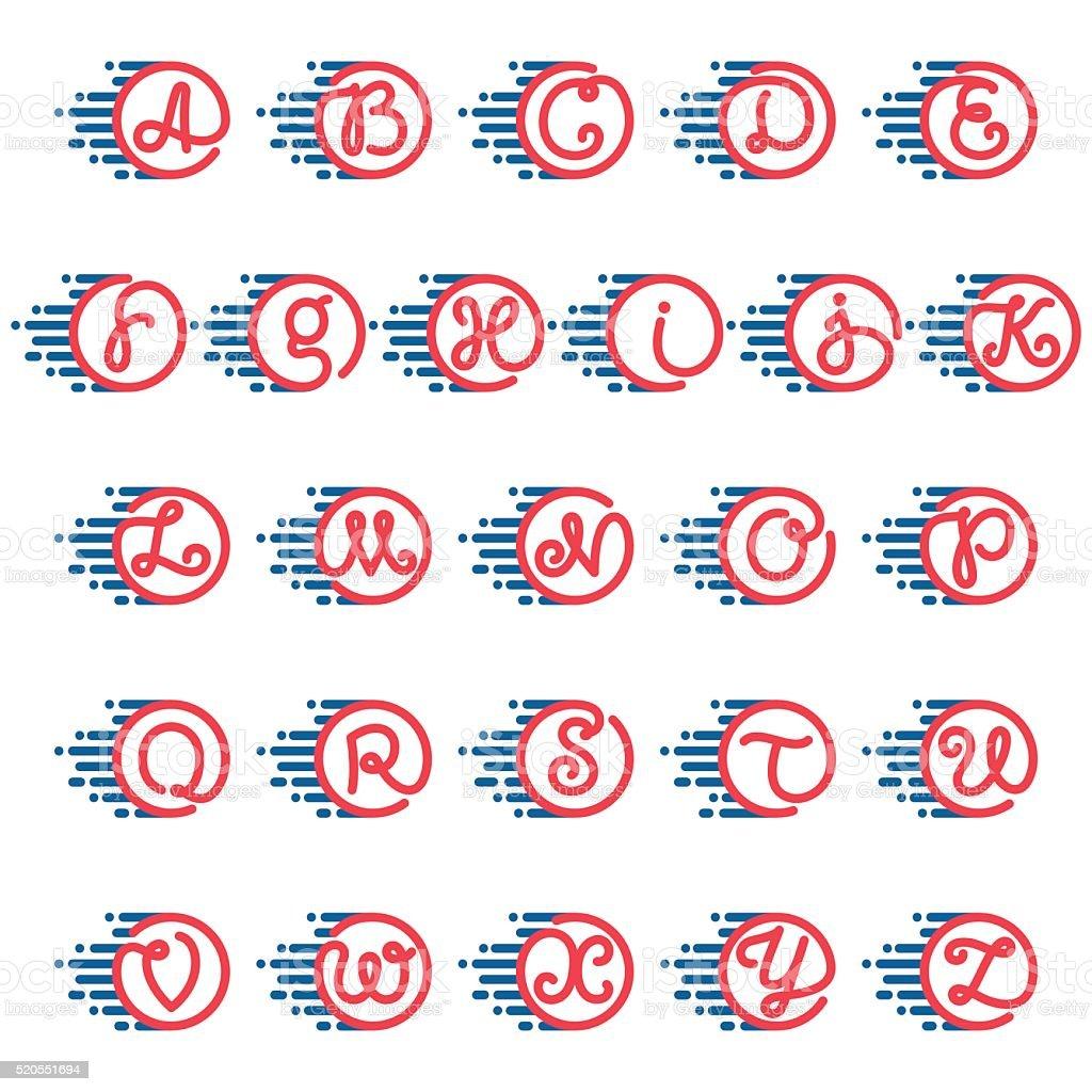 bbb877c8d Alfabeto letras em círculo com velocidade linha. alfabeto letras em círculo  com velocidade linha -