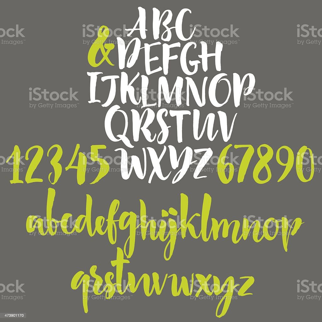 Alphabet letters: lowercase, uppercase and numbers vector art illustration