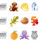ABC icon set contains 3 baby blocks with letters M, N, O and 3 objects for every letter in cartoon style. Letter M: monkey, melon, milk. Letter N: newt, nut, numbers. Letter O: orange, octopus, owl. ZIP contains AI 10, CDR 11, JPG.