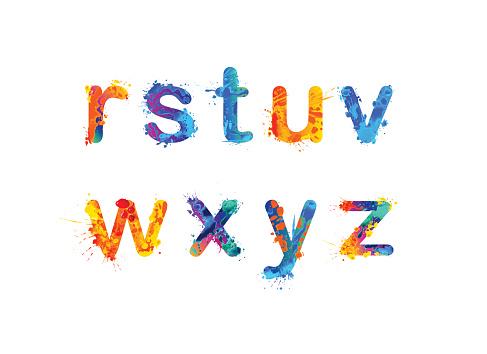 Alphabet of watercolor splash paint. Letters r, s, t, u, v, w, x, y, z. Part 3 of 3