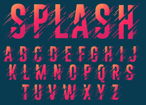 Alphabet letters, stylized colorful abc, liquid ink font. Vector vector art illustration