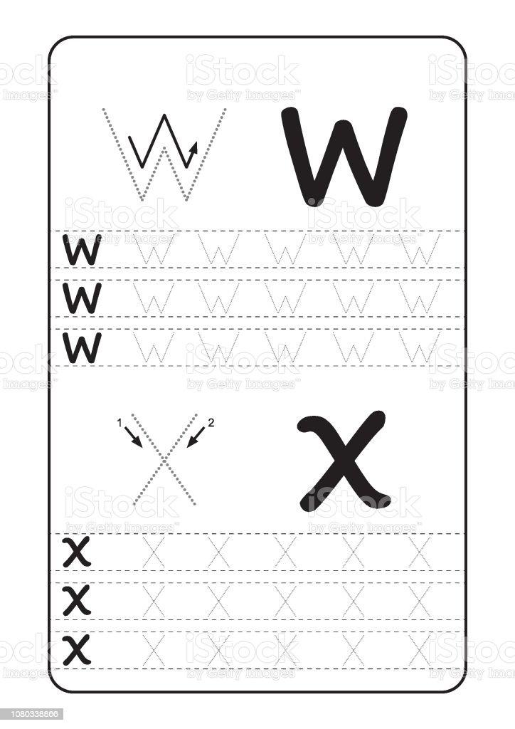 Abc Alphabet Buchstaben Nachzeichnen Arbeitsblatt Mit Buchstaben