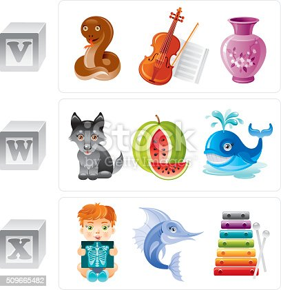 ABC icon set contains 3 baby blocks with letters V, W, X and 3 objects for every letter in cartoon style. Letter V: viper, violin, vase. Letter W: wolf, watermelon, whale. Letter X: x-rays, xiphias, xylophone.