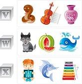 Alphabet letters V, W, X icon set