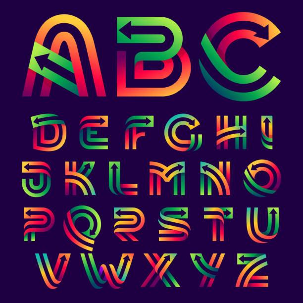 stockillustraties, clipart, cartoons en iconen met de brieven van het alfabet met pijlen binnen. - parallel