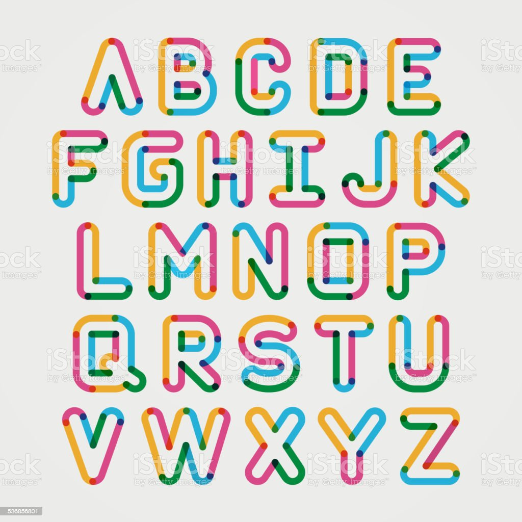 Alphabet line transparent color font style. vector art illustration