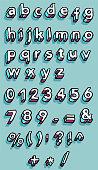 three dimensional sketch alphabet in lowercase