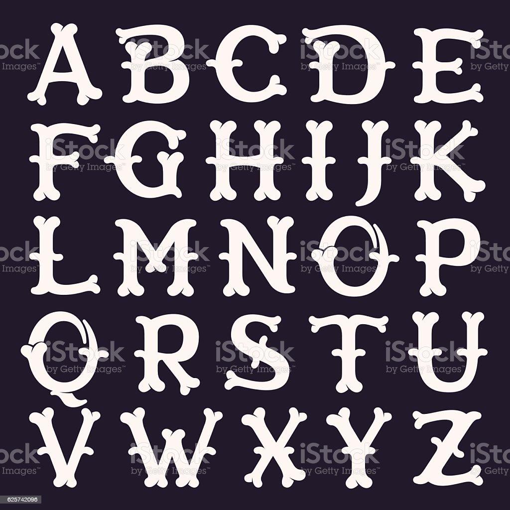 Alphabet made out of bones. vector art illustration