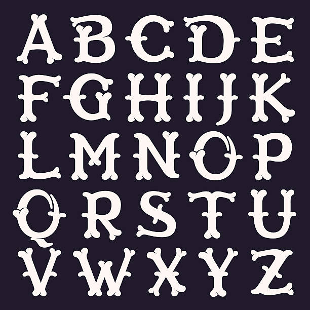 alphabet made out of bones. - pirates stock illustrations, clip art, cartoons, & icons