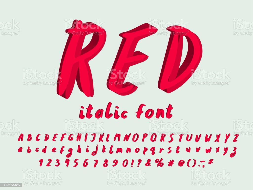 Alphabet Modern Design Italic Font Hand Drawn Vector Letters