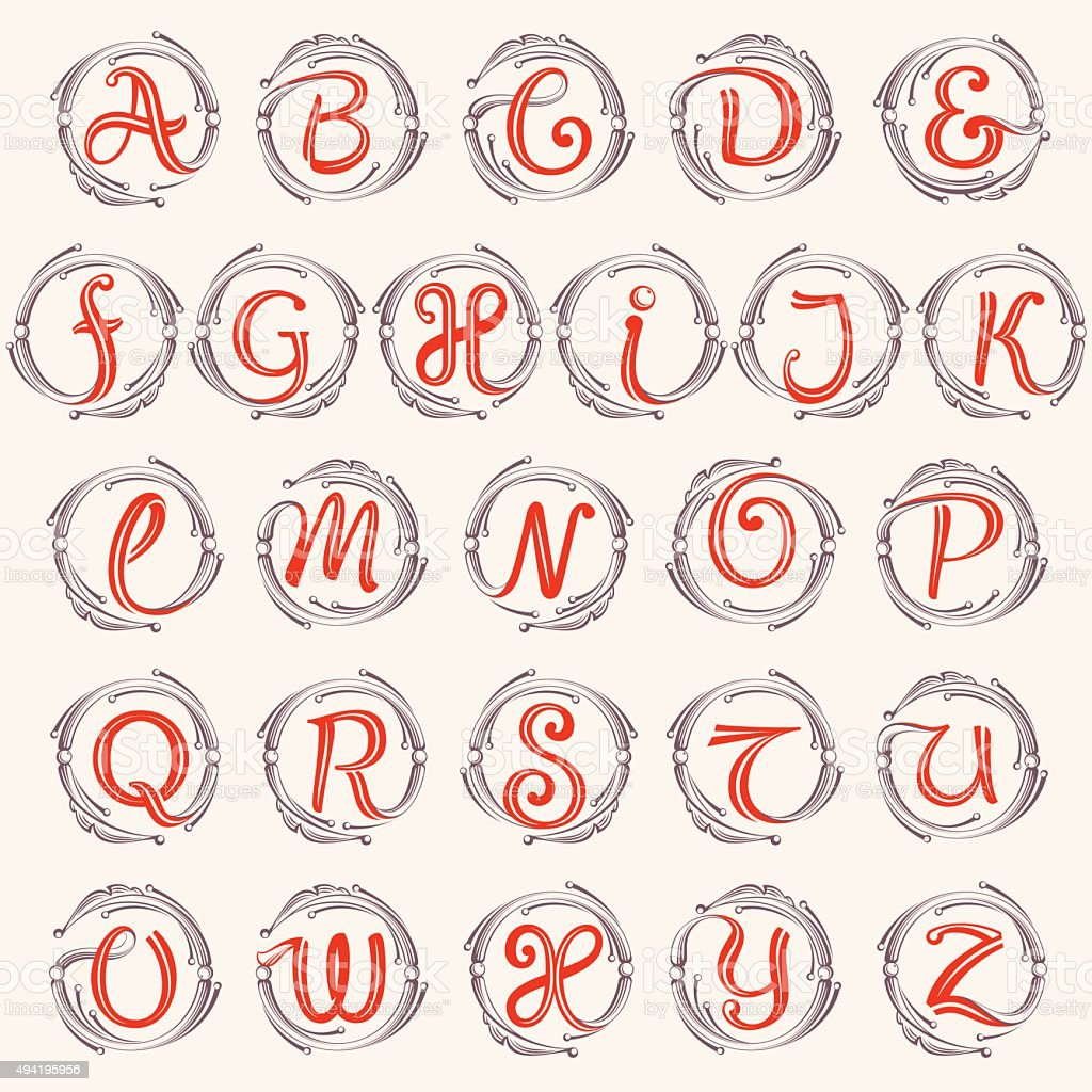 Alphabet monogram design elements. vector art illustration