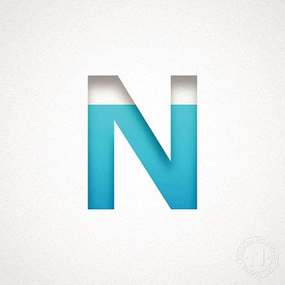 Alphabet N Design - Blue Letter on Watercolor Paper
