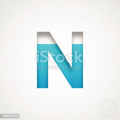 istock Alphabet N Design - Blue Letter on Watercolor Paper 528632645