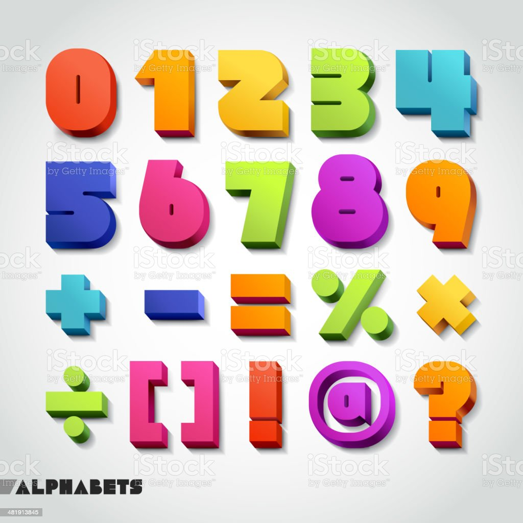 3D alphabet number colorful font. vector art illustration