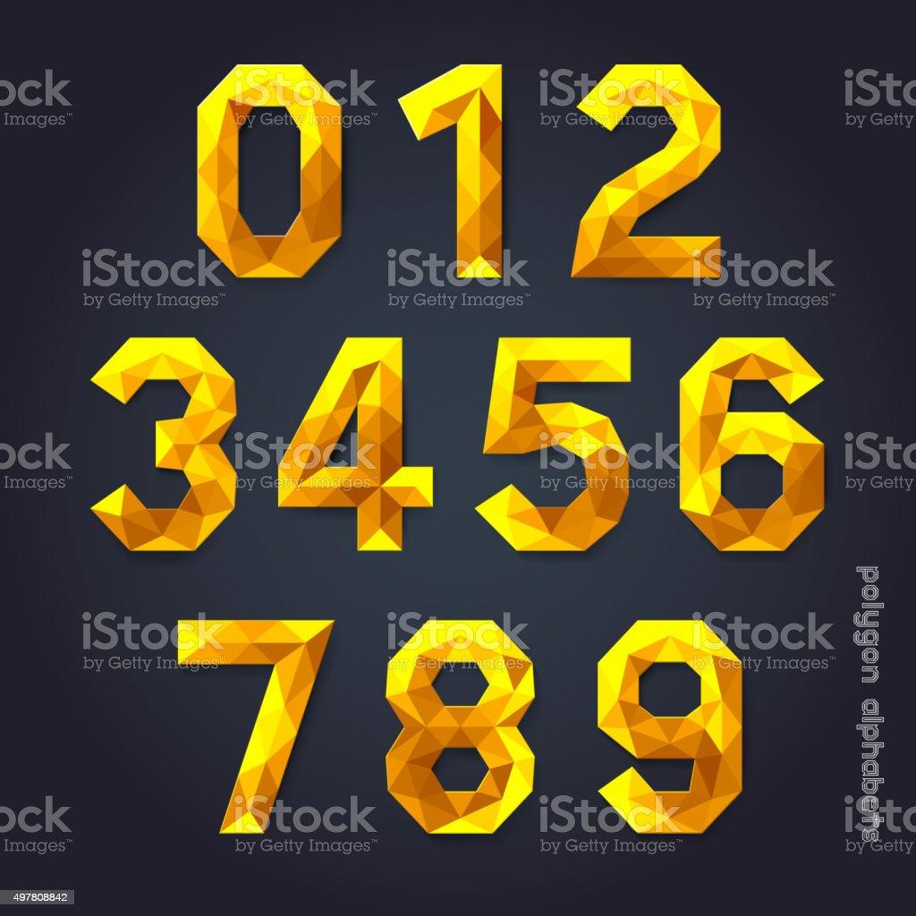 Alphabet number gold Farbe polygon-Stil. – Vektorgrafik