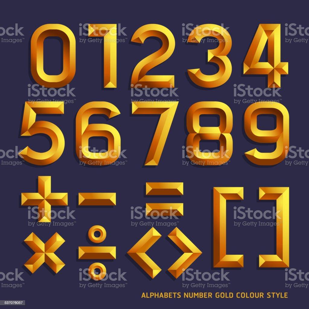 Alphabet number gold. – Vektorgrafik