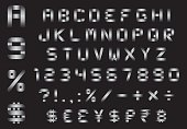 alphabet, numbers, currency and symbols pack - rectangular bent metal font