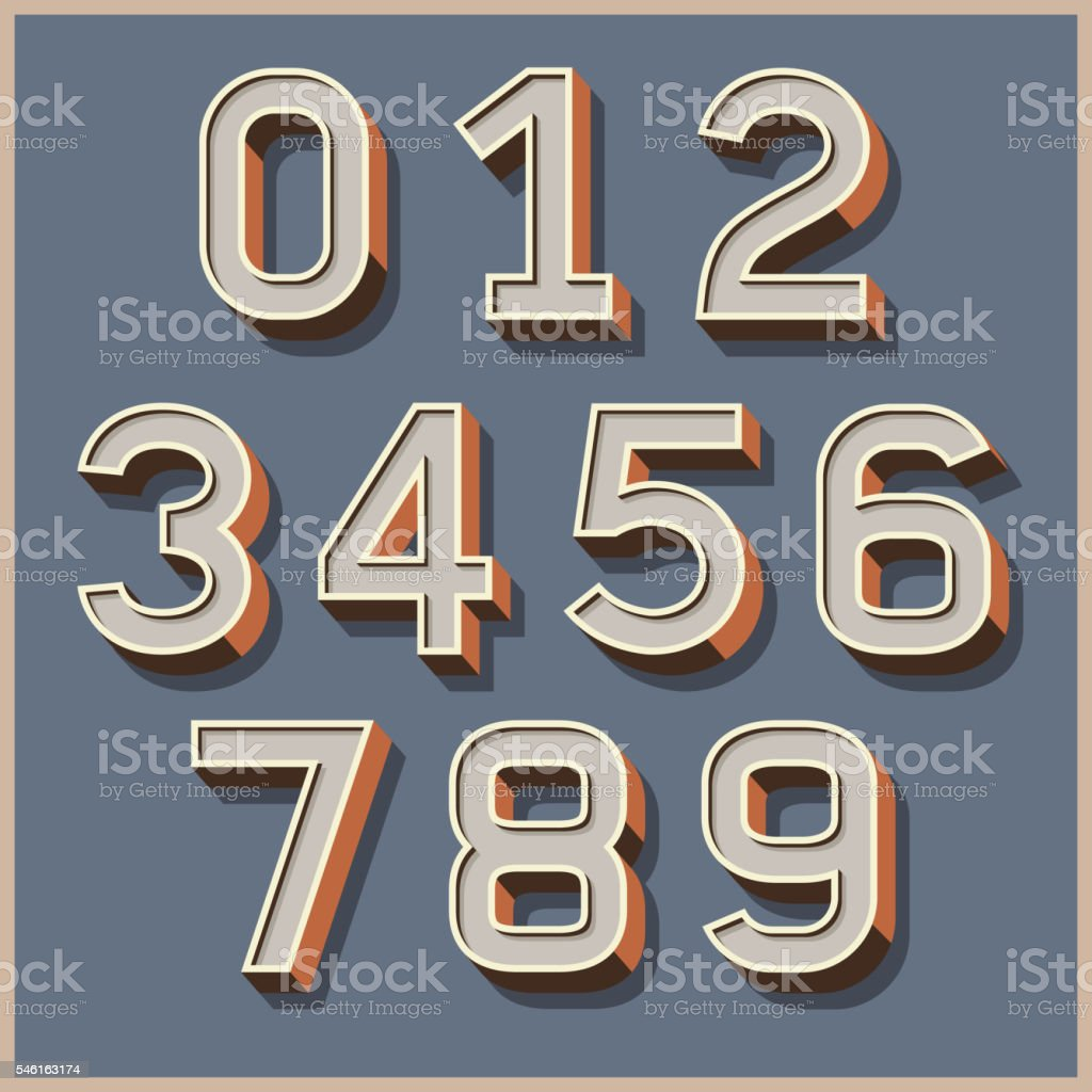 Alphabet numbers retro colour style. vector art illustration