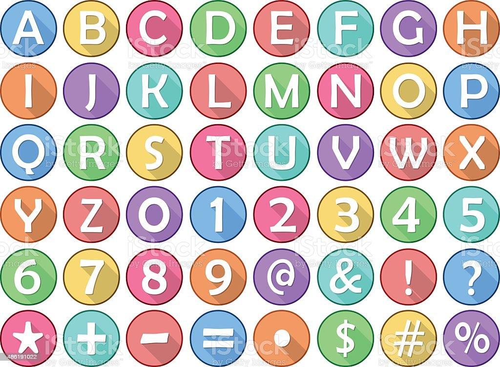 Alphabet Numbers Symbols Flat Round Icons vector art illustration