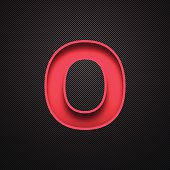 """Red letter """"O"""" on a realistic carbon fiber texture (black background)."""