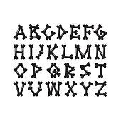 Alphabet of bones, the constructor for T-shirt prints