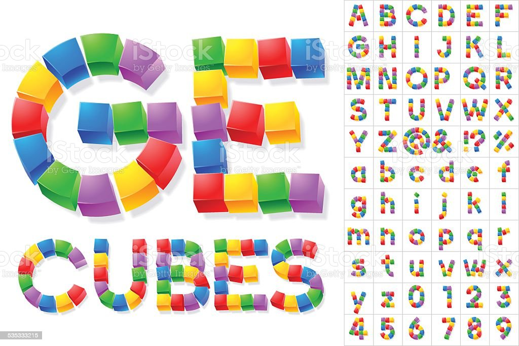 Alphabet of children's cube blocks